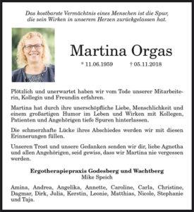 Nachruf Martina Orgas